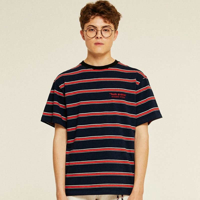[TIME SALE]Youth Stripe Half T-Shirts (navy)