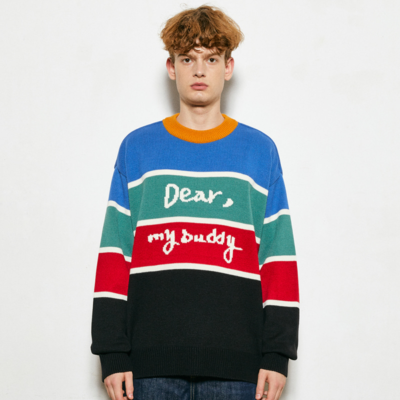 Dear Buddy Stripe Round Knit (black)