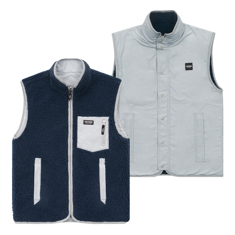 [한정수량] Logo Reversible Vest (navy/gray)