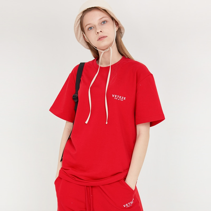 [MID-SEASON]Signature Logo Half T-Shirts (red)