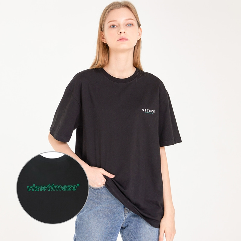 [MID-SEASON]Color Logo Half T-Shirts (black)