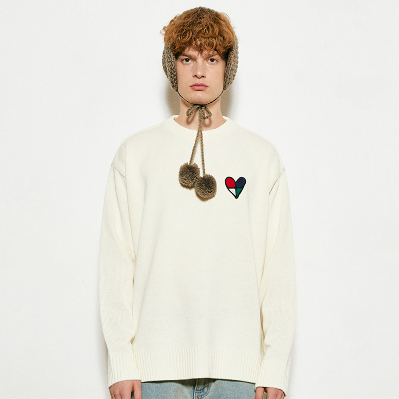 Heart Round Knit (cream)