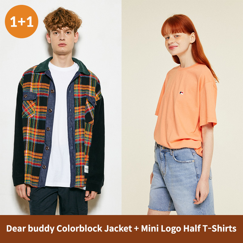 [1+1]Dear Buddy Colorblock Jacket + Mini Logo Half T-Shirts