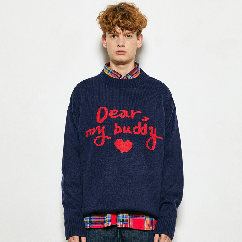 Dear Buddy Round Knit (navy)