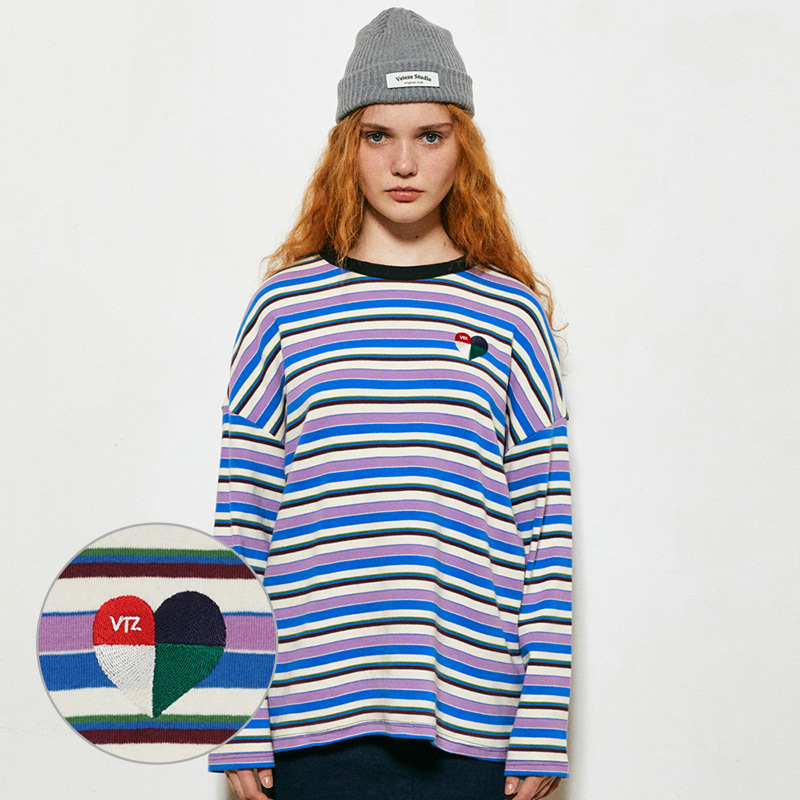 Heart Stripe Long Sleeve (light purple)