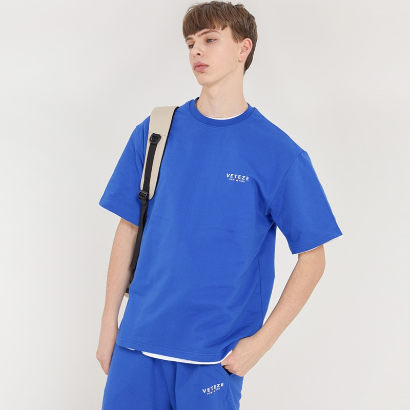 [TIME SALE]Signature Logo Half T-Shirts (blue)