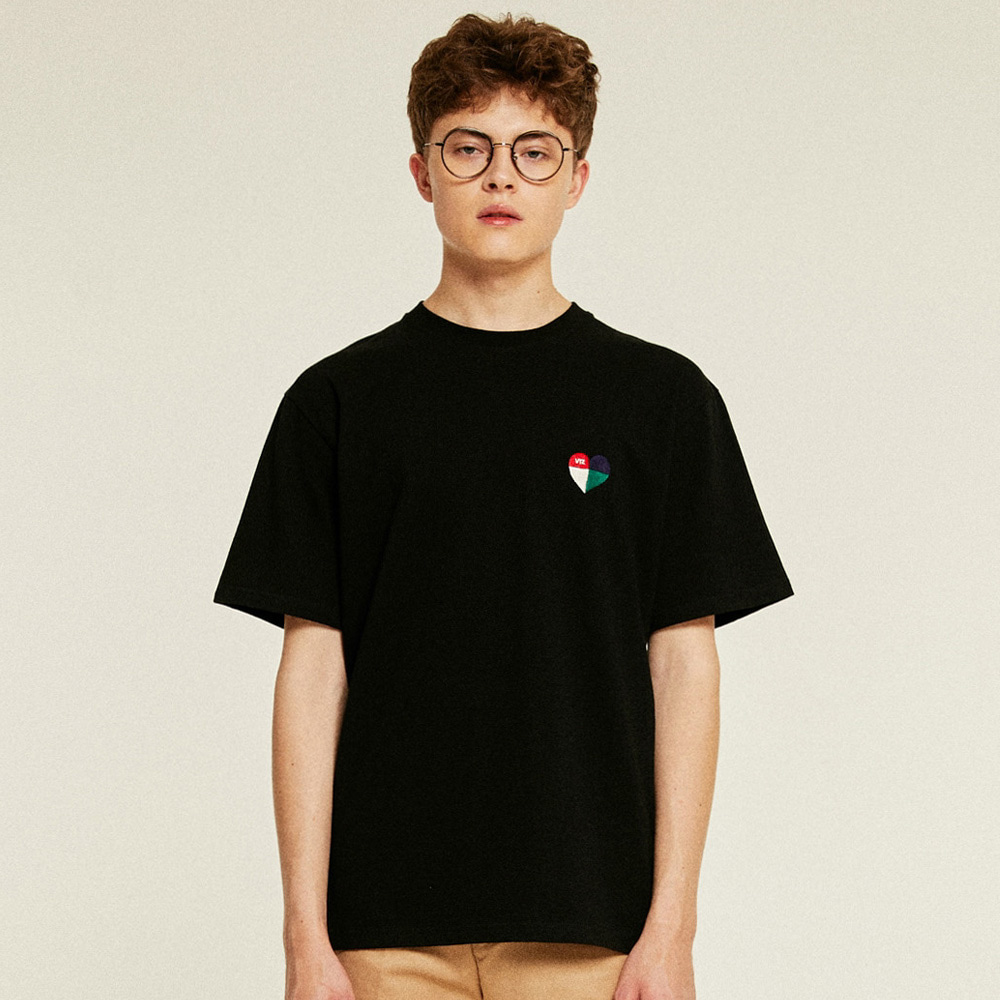 [TIME SALE]Heart Half T-Shirts (black)