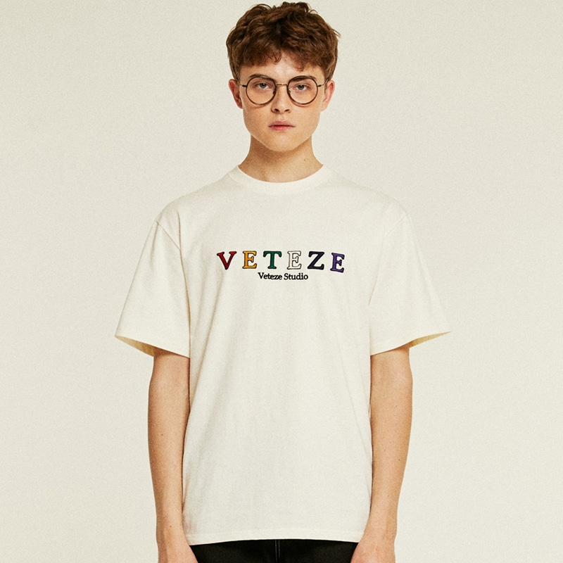 [TIME SALE]Rainbow Studio Half T-Shirts (cream)