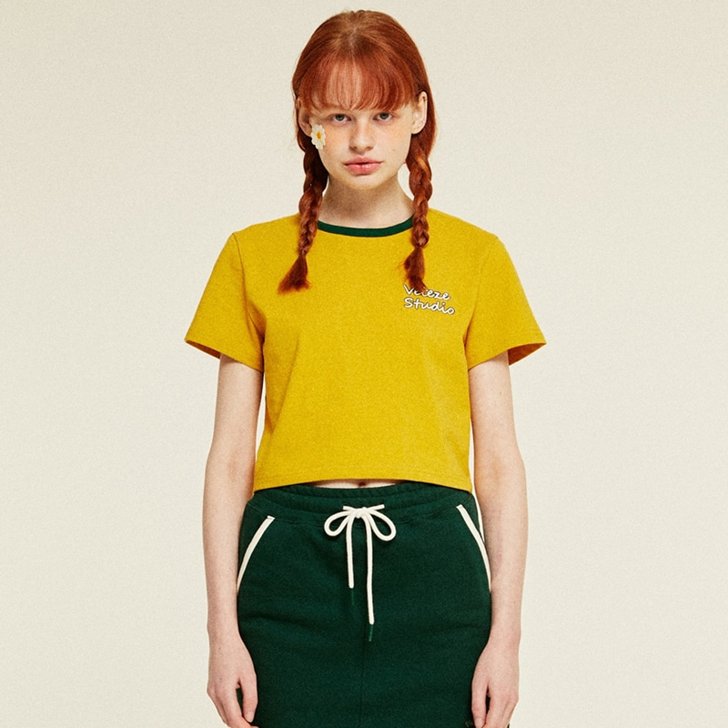 [TIME SALE]Studio Crop T-Shirts (mustard)