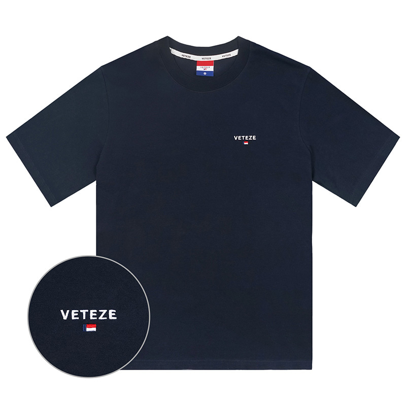 [Season Off] Basic Logo Half T-Shirts (navy)